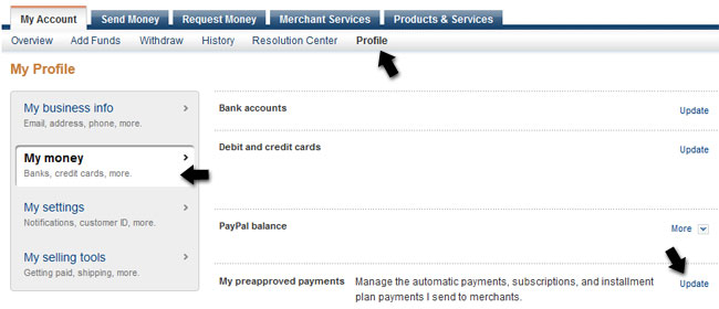 pay money into my paypal account