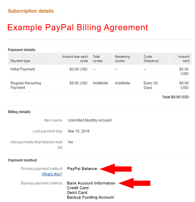 PayPal billing agreement update