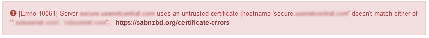 sabnzbd ssl certificate error